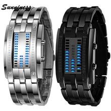 2017 Hot Buy Future Technology Binary Watch Men's Women Black Stainless Steel Date Digital LED Bracelet Sport Watches Feb 14