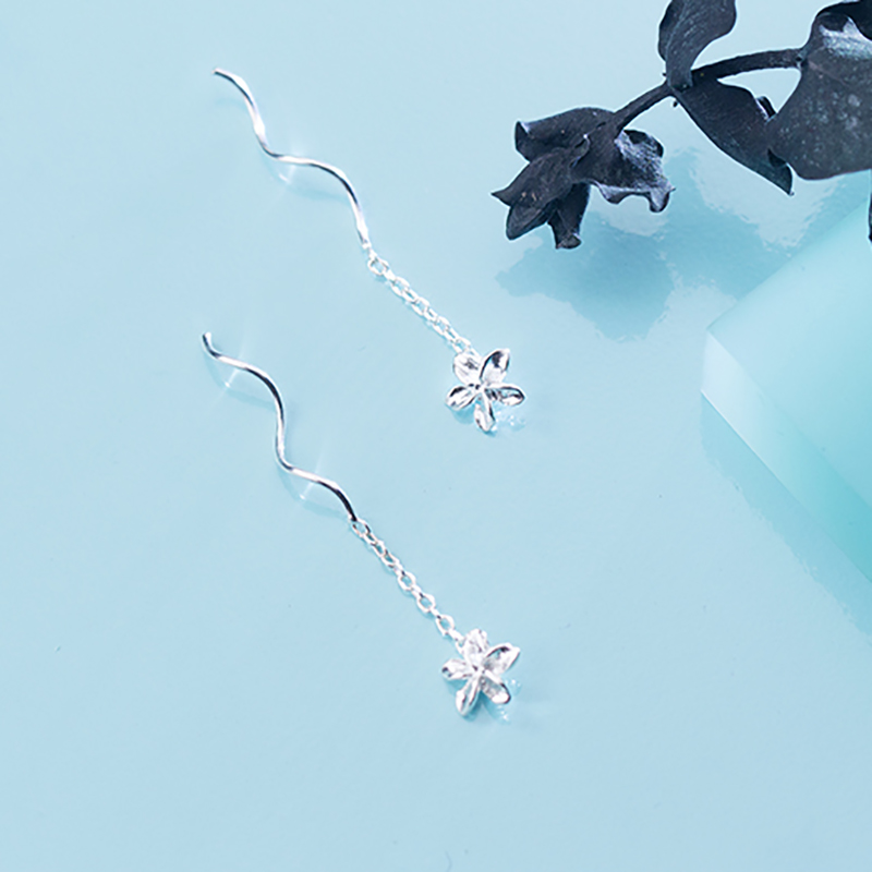 INALIS, модные простые спиральные цепочки, линия уха, S925 серебро, цветок, висячие серьги, хорошее ювелирное изделие, для девочек