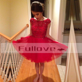 Luxurious Crystals Beaded Red Tulle Prom Dresses 2019 Appliques Pleat Knee-Length Short Party Dress Robe De Soiree Curto Caftan