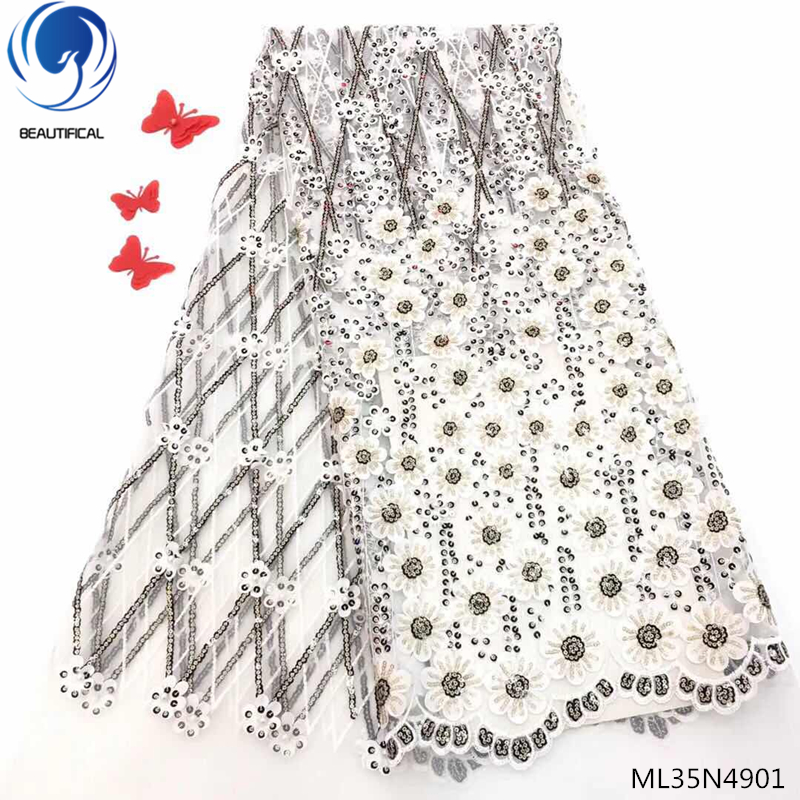 BEAUTIFICAL White bridal lace African wedding dress lace new pattern French sequins lace 5 yards/lot ML35N49BEAUTIFICAL White bridal lace African wedding dress lace new pattern French sequins lace 5 yards/lot ML35N49