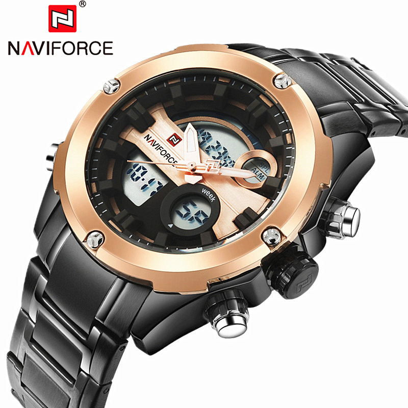 Top Luxury Brand NAVIFORCE Men Full Steel Watches Men's Quartz Analog Watch Man Fashion Swim Sports Army Military Wrist Watch new weide army watches men s full steel luxury brand quartz military sports watch analog digital display free shipping wh843