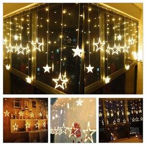 Image 2 - 4.5 m estrela curstain led string luz 138 leds luzes de natal decoração para casa quarto janela festa aniversário iluminação do feriado