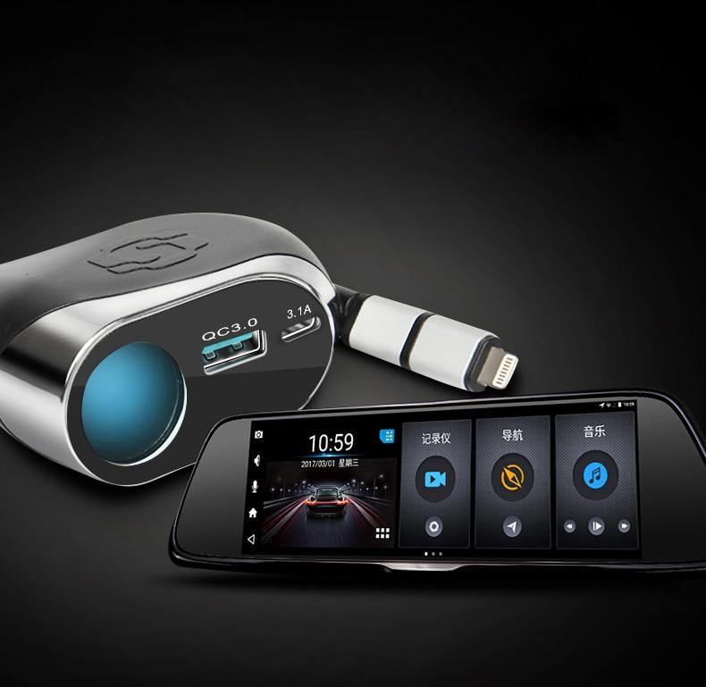 SEBTER автомобиля Зарядное устройство Многофункциональный Окно Выключатель автомобиль интеллектуальные прикуривателя мобильный телефон USB QC3.0 Quick Charge