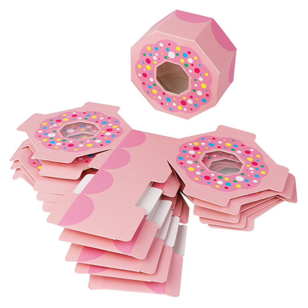 OurWarm 50Pcs Donut Birthday Favor Boxes Pink Hexagon Paper Chocolate Candy Box Goodies Bags Baby Shower Donut Party Supplies in Gift Bags Wrapping Supplies from Home Garden