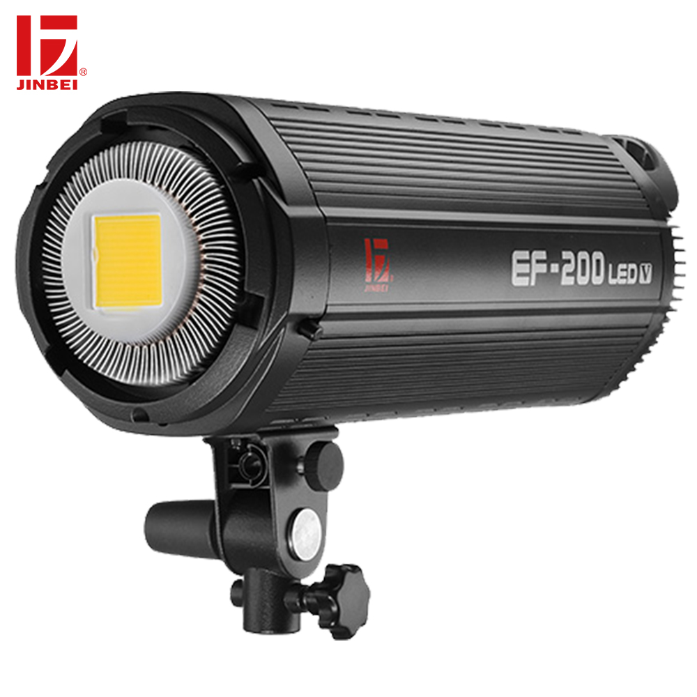 JINBEI EF-200 200W LED Video Light 5500K LCD Panel Dimmable Continuous Output Lamp Bowens Mount Studio Photography Lighting