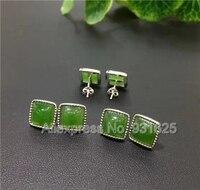 Одна пара натуральный Серебро 925 зеленый Хотан Yu квадратный Бусины инкрустация Лаки серьги довольно драгоценного камня Серьги изделия деву...