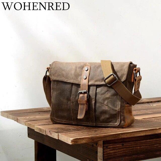 7ba09d795092 Винтажная мужская сумка-мессенджер из холщовой кожи, Повседневная сумка на  плечо, Мужская маленькая