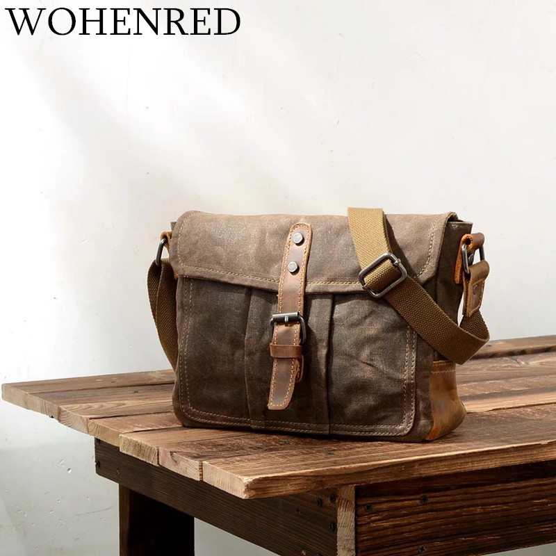 Vintage Mens Messenger Bags Canvas Leather Shoulder Bag Casual Multifunction Male Small Portable Waterproof Crossbody Bag Brand
