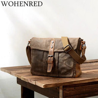 Vintage Men's Messenger Bags Canvas Leather Shoulder Bag Casual Multifunction Male Small Portable Waterproof Crossbody Bag Brand