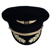 9cc920fa Custom Upscale Pilot Cap Airline Captain Hat Uniform Hat Halloween Party Cap  Adult Men Military Hats Black For Men Women