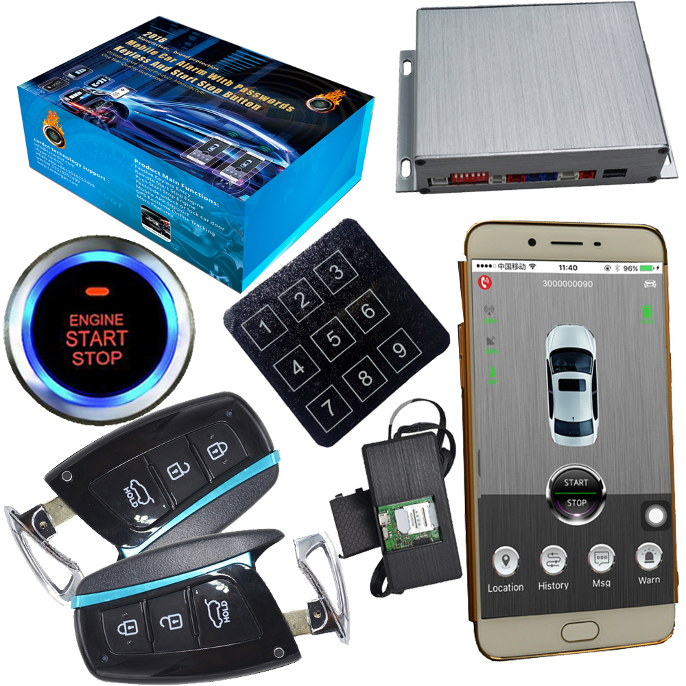 passcode auto keyless entry car security alarm system gsm mobile app control central door lock and push engine start stop car fuzik keyless go smart key keyless entry push remote button start car alarm for honda accord odyssey crv civic jazz vezel xrv