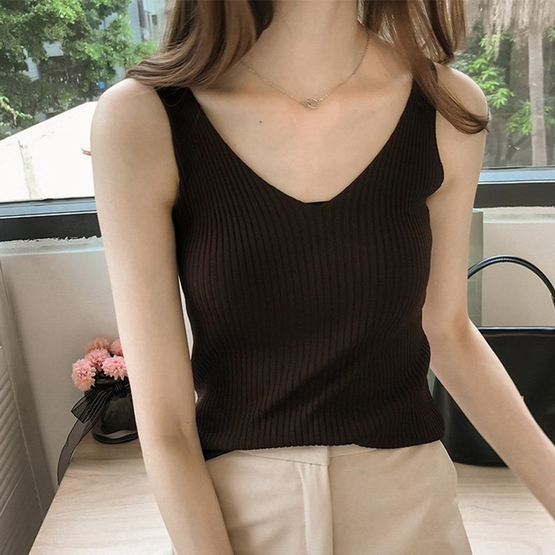 Female Knitted Slim   Tank     Tops   2019 Summer Solid V-neck Camis Shirt Ladies   Top