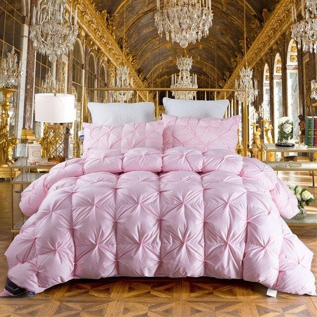 Tutubird Winter Gansente Unten Decke Luxus Rosa Warme Bettdecke