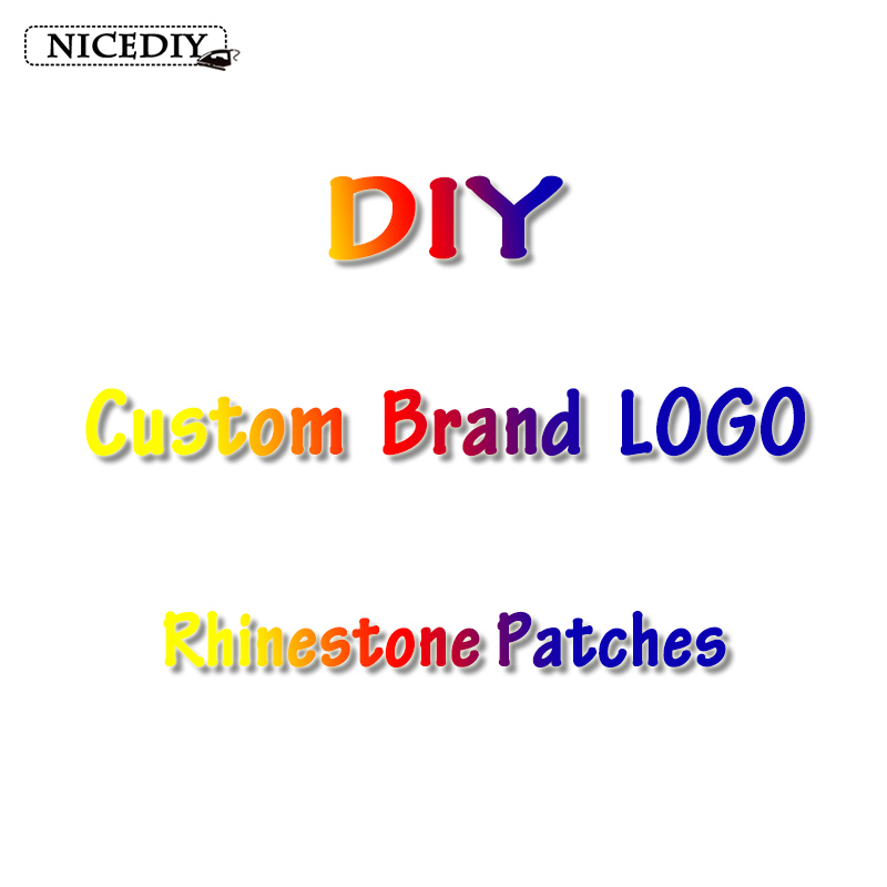 Nicediy Brand LOGO Rhinestone Patches For Clothing Iron On Patches Custom Patch Applique For Cloth Bag Shoe DIY Badge Decoration