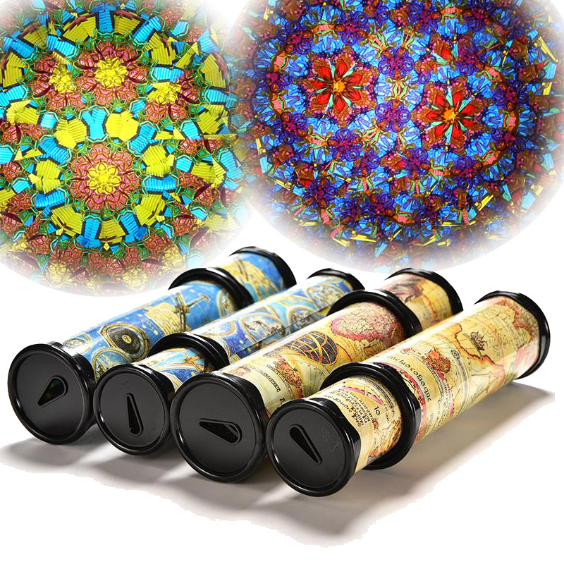 30cm Educational Rotating Magic Kaleidoscopes 3D Glass Fancy Preschool Classic Toys For Children Baby Kids Puzzle Wooden Toys