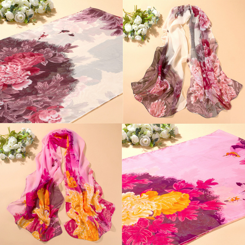 Fashion Chiffon Scarves Summer Peony Printing Lady Girl Chinese Shawls Charming Silk Scarf Gift