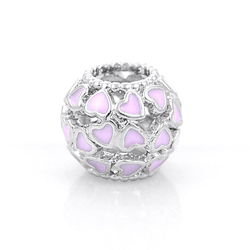Silver Plated Hollow Out Ball Heart Charms Bead Fit Pandora Charm Bracelets&Bangles DIY Jewelry Making,SPB072