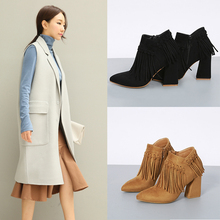Spring Autumn Shoes For Women 2016 Square High Heels Tassle Ankle Short boots Womens Shoes Side Zip Black/Brown Ladies shoes