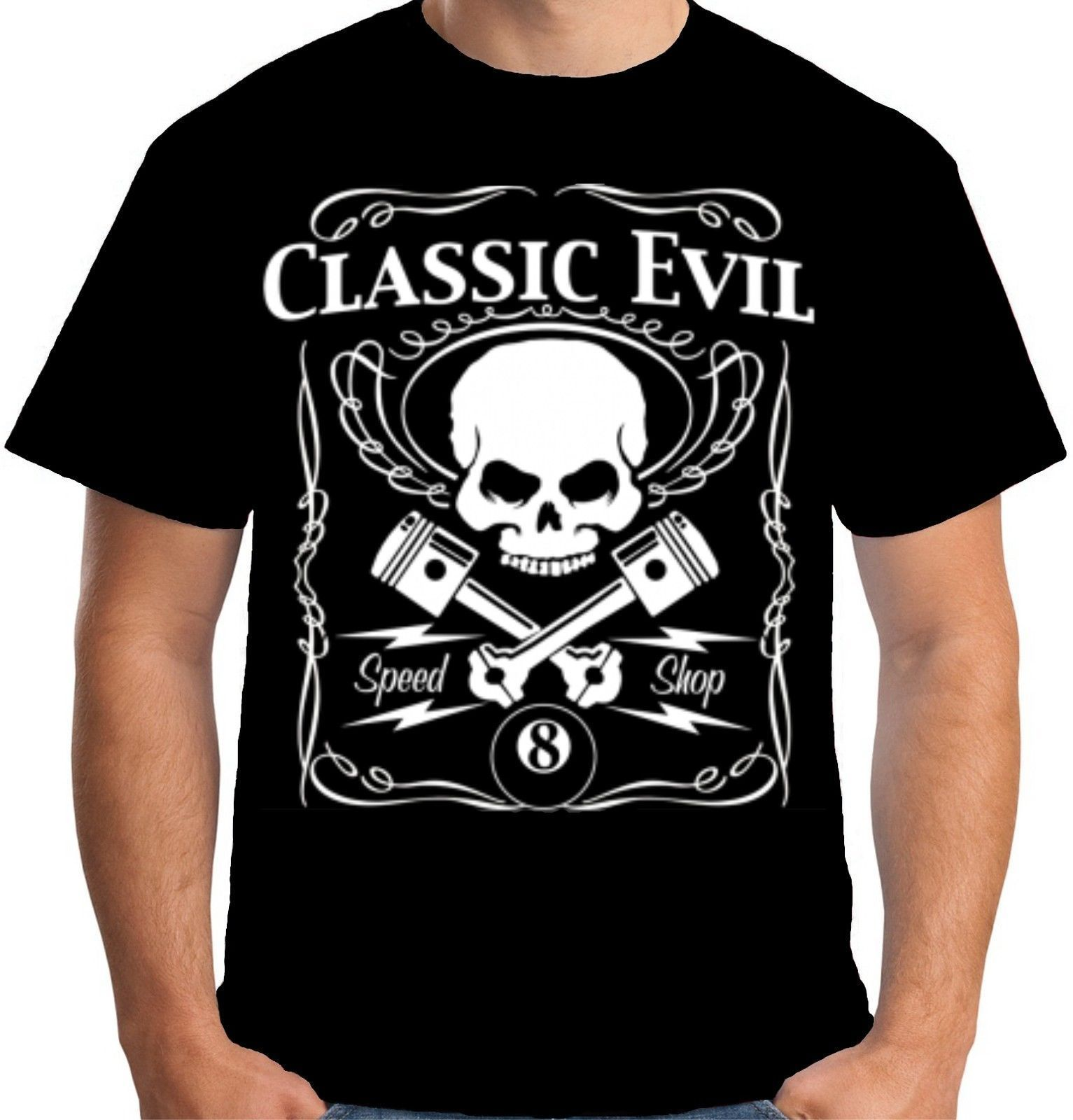 tee-shirt rockabilly Classic evil speed shop Pistons retro hot rod 2018 Summer T Shirt Summer Fashion Men T Shirt