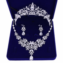 Silver Plated Flowers Crystal Bridal Jewelry Sets Crown Tiaras Statement Necklace Earrings Wedding Accessories Party Jewelry недорого