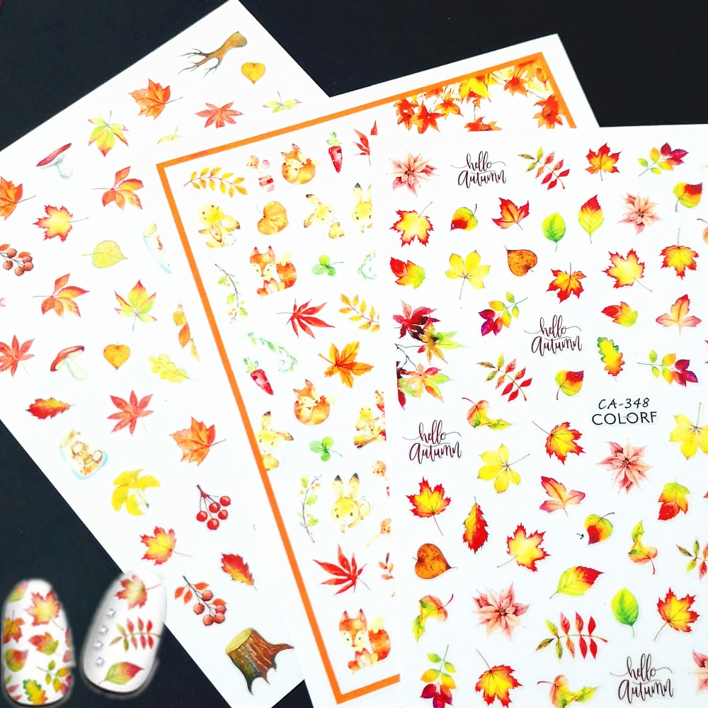 Newest CA-347 348 August maple leaves design 3d nail sticker back glue decal decoration for nail tips