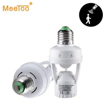 E27 lampa z czujnikiem ruchu przełącznik 100-240V wykrywacz ruchu E27 podstawa lampy uchwyt z regulacją światła inteligentny przełącznik żarówki adapter gniazda