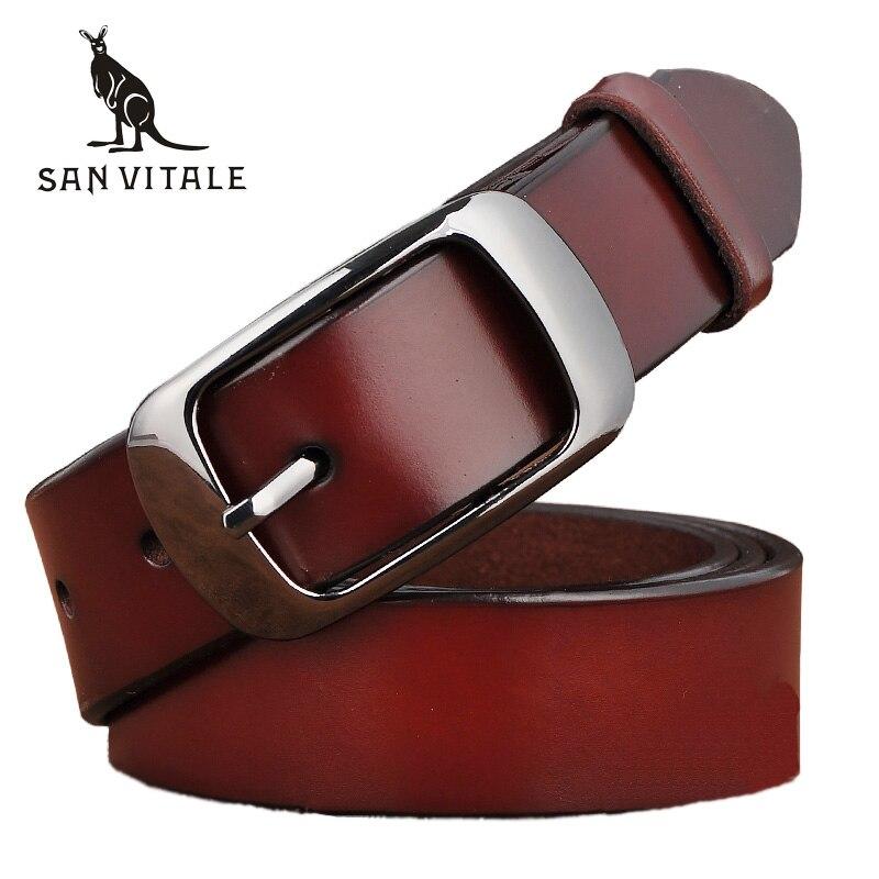 SAN VITALE nuevo diseñador de moda cinturones de mujer de cuero genuino de marca correas de la cintura femenina hebillas de Pin de lujo Vintage para Jeans