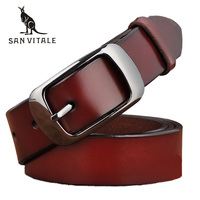 SAN VITALE New Designer Fashion Women S Belts Genuine Leather Brand Straps Female Waistband Pin Buckles
