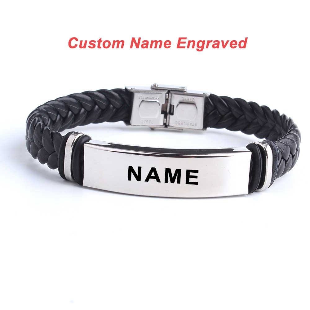 Fashion Custom logo Name Engrave Leather Bangle & Bracelet 316L Stainless Steel Bracelets For Women Men ID Bracelet Jewelry