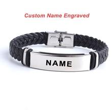 Fashion Custom logo Name Engrave Leather Bangle & Bracelet 316L Stainless Steel