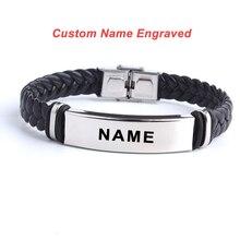 Fashion Custom logo Name Engrave Leather Love Bangle & Brace