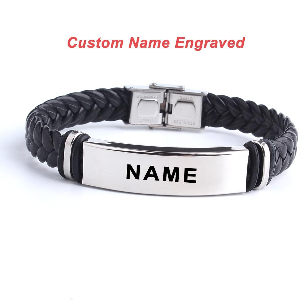 Fashion Custom logo Name Engrave Leather Bangle & Bracelet 316L Stainless Steel Bracelets For Women Men ID Bracelet Jewelry