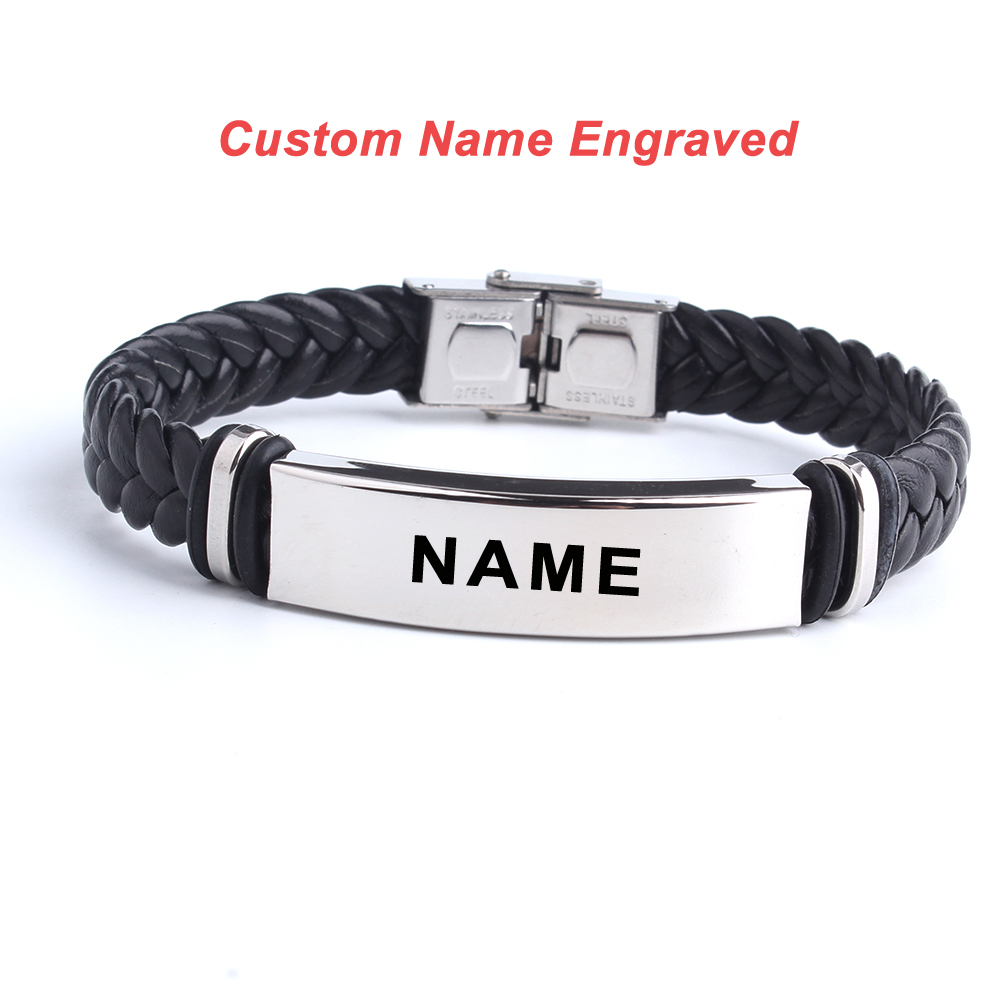 Fashion Custom Logo Name Engrave Leather Bangle & Bracelet Customize Stainless Steel Bracelets For Women Men ID Bracelet Jewelry