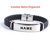 Fashion Custom logo Name Engrave Leather Love Bangle & Bracelet 316L Stainless Steel Bracelets For Women Men ID Bracelet Jewelry