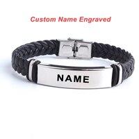 5957e0d79f37 Pulsera y brazalete de amor de cuero grabado con logotipo personalizado a  la moda pulseras de acero inoxidable 316L para Mujeres Hombres ID pulsera  joyería