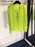 FOMOLAYIME Blouses Women 2018 New Designer V Neck Autumn Silk Blouse Shirts