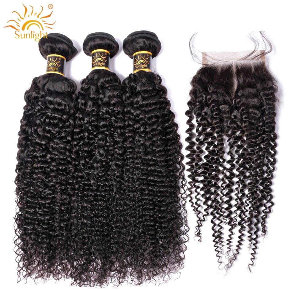 Mongolian Kinky Curly Bundles With Closure 100 Remy Human Hair Bundles With Closure Sunlight 3 4