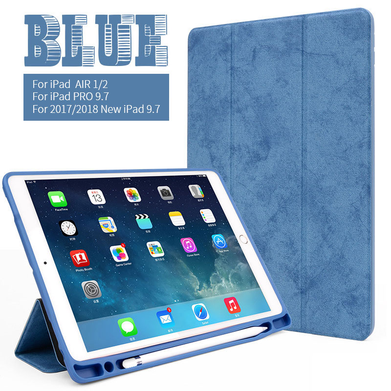 Blue 9.7 inch iPad multi color case with build in pencil slot for iPad Air 1/2, pro 9.7, 2017/2018 9.7
