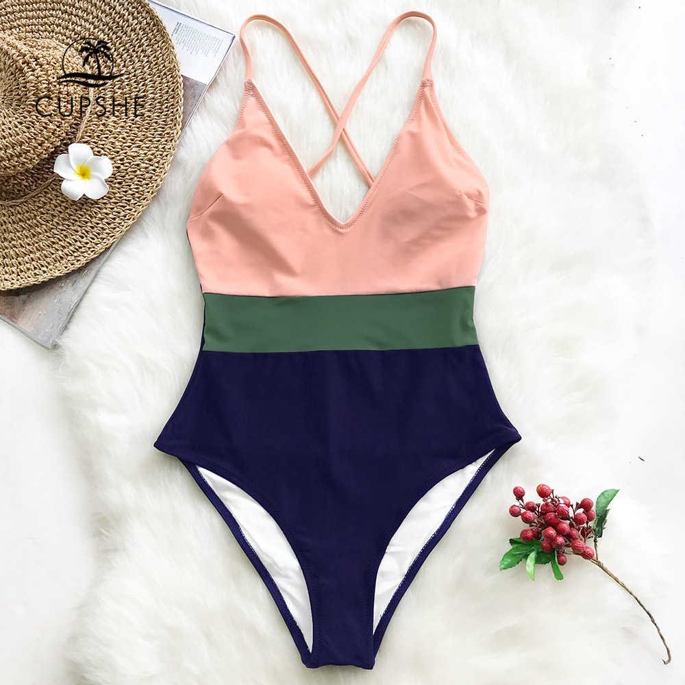 CUPSHE, сдельный женский купальник с перекрестными блоками, v-образный вырез, открытая спина, пэчворк, монокини, 2019, для девушек, пляжный, регулируемый, Btahing, костюмы, купальники
