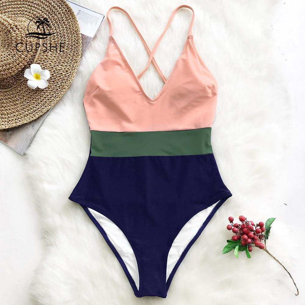 Ajustable Para De Pieza Bloque Cruz Espalda Cuello Sin Monokini 2019 Trajes Btahing Patchwork Chica Mujer Una En Playa Traje V Baño oQCxhrBtsd