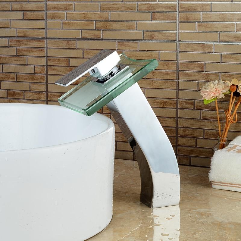 Deck Mount Chrome Finish Basin Faucet Waterfall Glass Spout Single Lever Mixer Faucet niko 50pcs chrome single coil pickup screws