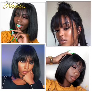Image 2 - Nadula Hair 13*4 Lace Front Wig Short Human Hair Wig 8 14inch Straight Bob Wig For Women Brazilian Remy Hair Natural Color