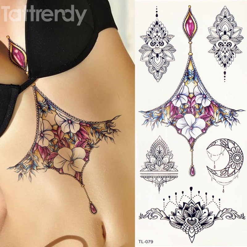 1 Sheet Women Sternum Jewelry Tattoo Temporary Body Chest Waist Art Tattoo Sticker Cool Sexy Choker Pendant Under Breast Designs