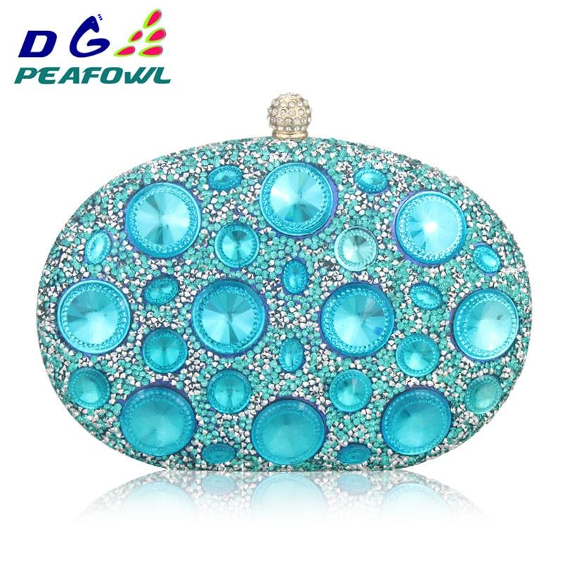 Óriás ezüst / világos kék Diamond strasszok Nők Esti táskák - Kézitáskák