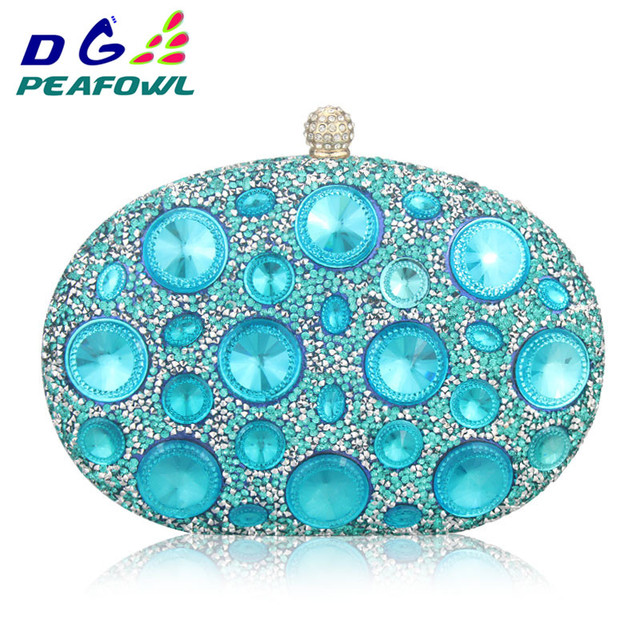 DG Peafowl Giant Light Blue Rhinestones Women Evening Bags Metal Minaudiere Wedding Party Crystal Clutch Handbag Formal Purses