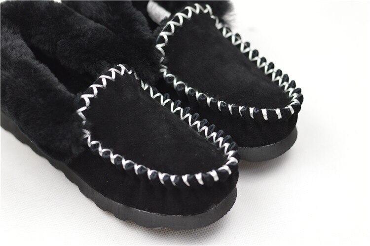 2 Mocassins D'hiver Plat À Cuir Qualité Véritable Classique Appartements Noir Faux Femme gris Chaussures Couleurs Top L'intérieur Des Fourrure En Australie rtqrB