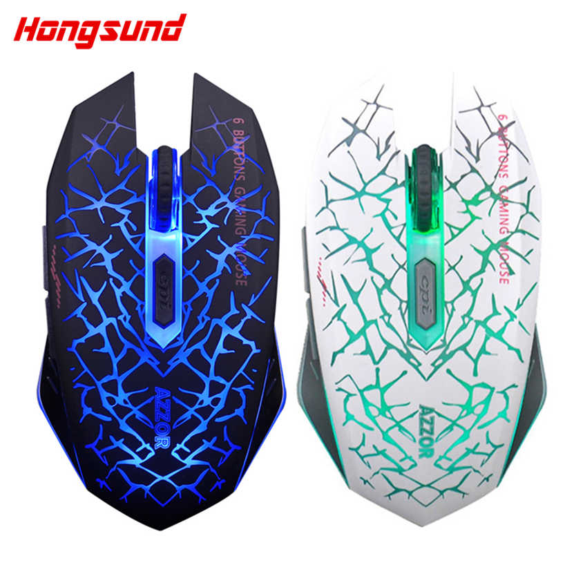 AZZOR Rechargeable Wireless Gaming Mouse Silent 2.4G Optical2400DPI USB Mouse Colorful Backlight Gamer Mouse For Computer Laptop