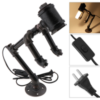 Retro Lamp Socket/ Holder for E26/E27 Bulb with Rustic Industrial Fixtures Iron Water Pipe for Table / Bedside / Desk