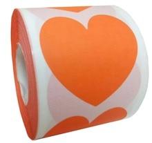 Smart Sticker Fluorescent orange Heart Stickers - 2 Inch 500 Total Shape Adhesive Labels