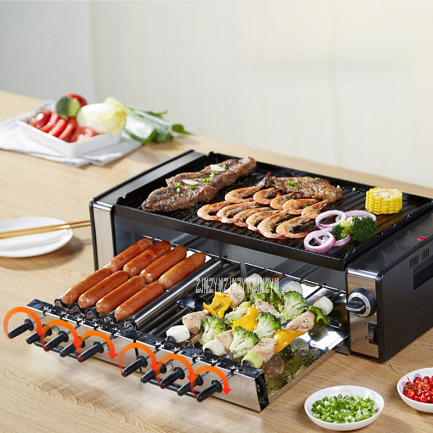 New Arrival Household Electric Barbecue Pits HSK 10 Smokeless Barbecue Machine Electric Baking Pan Teppanyaki Grill 220V 50HZ